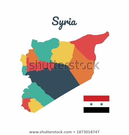 Síria · mapa · bandeira · viajar · preto · asiático - foto stock © istanbul2009