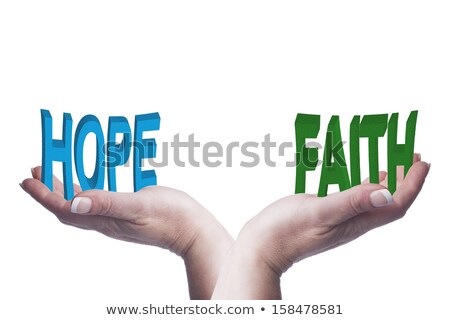 Female hands balancing hope and faith 3D words conceptual image Stock photo © jenbray