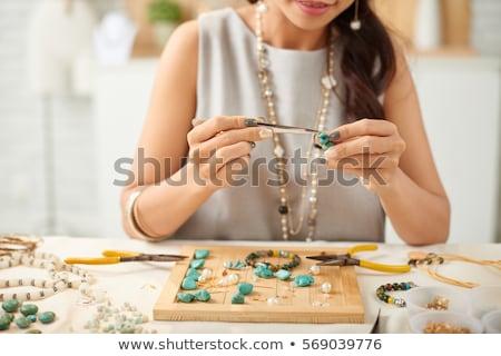 gyöngyök · ékszerek · készít · szervező · tele · színes - stock fotó © sarkao
