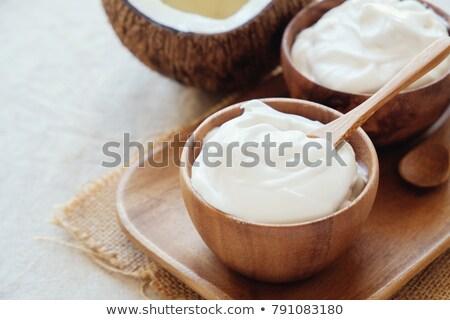 Stock fotó: Organikus · joghurt · piros · rusztikus · tál · étel