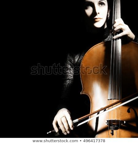 Menina violoncelo preto jogar madeira feminino Foto stock © InTheFlesh