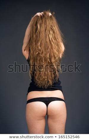 Young Woman with Long Brown Hair in Black Top and Panties Stock photo © courtyardpix
