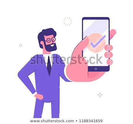 бизнесмен · смартфон · экране · бизнеса · интернет - Сток-фото © andreypopov