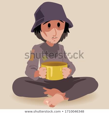 бездомным · голодный · человека · сидят · улице · бедные - Сток-фото © lightpoet