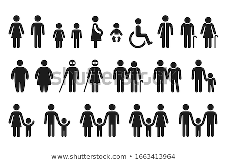 Ouders kinderen mannelijke vrouwelijke geslacht borden Stockfoto © oneo