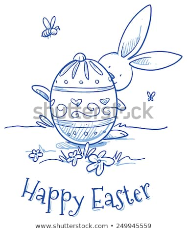 Stick figure with easter bunny and easter eggs Stock photo © Ustofre9