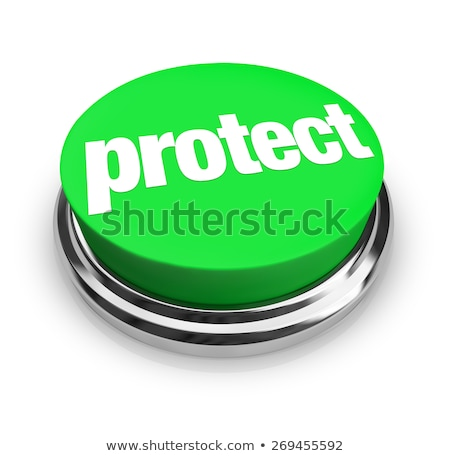 Protect Word Round Green Button Safeguard Preventing Danger Avoi Stock photo © iqoncept