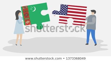 USA Türkmenisztán zászlók puzzle vektor kép Stock fotó © Istanbul2009
