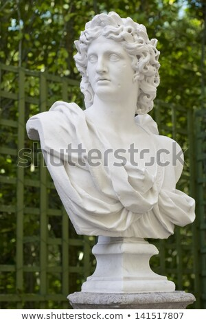 summer palace and marble bust in summer garden stock photo © pilgrimego