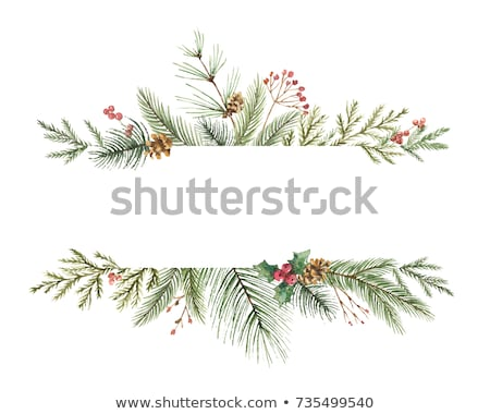 christmas border gifts and holly stock photo © irisangel