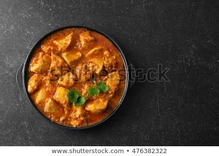 caril · de · frango · arroz · servido · superfície · comida - foto stock © trexec