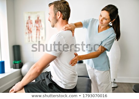 mulher · caucasiano · fundo · branco · adultos · fisioterapia - foto stock © Flareimage