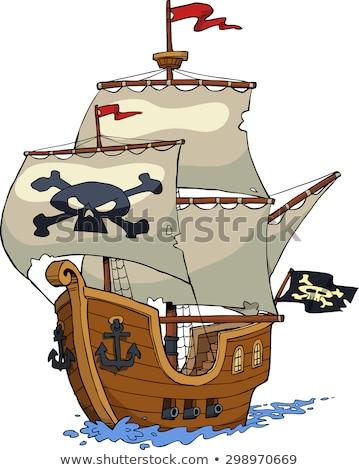 pirate with cannon cartoon illustration Stock photo © izakowski