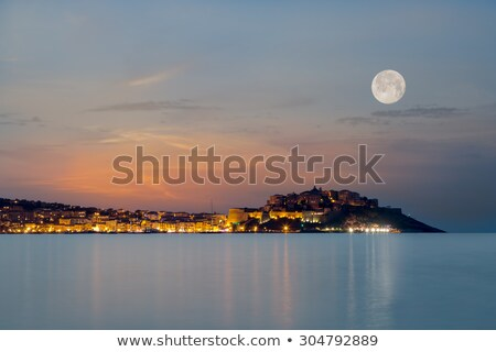 Full moon over Calvi citadel in Balagne region of Corsica Stock photo © Joningall