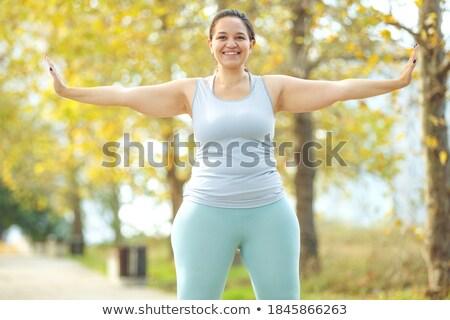 Nők túlsúlyos néz mérleg fürdőszoba kövér Stock fotó © Mikko
