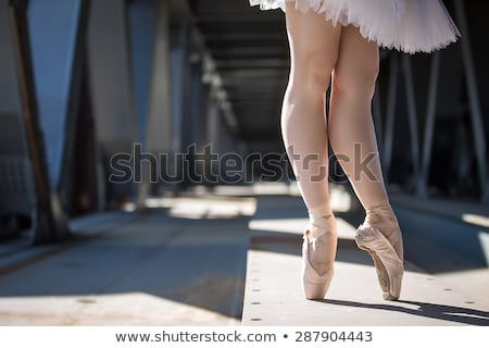 Stok fotoğraf: Cropped Picture Legs Of Graceful Ballerina In White Tutu