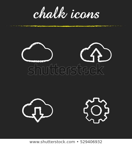 Stok fotoğraf: Bulut · ok · yukarı · ikon · tebeşir