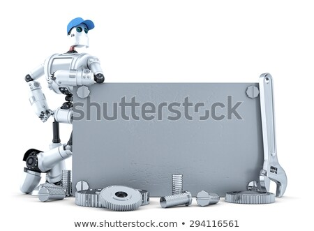 robot · outils · signe · technologie · isolé · blanche - photo stock © kirill_m