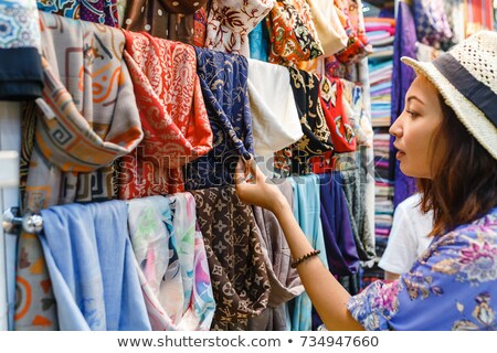 Textile, cloth on market Stock photo © jordanrusev