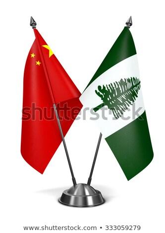 Çin norfolk ada minyatür bayraklar yalıtılmış Stok fotoğraf © tashatuvango