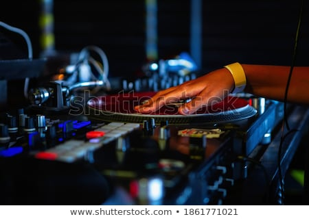 Dj retro woman vintage vinyl turntable music Stock photo © lunamarina