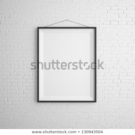 negro · marcos · blanco · pared · de · ladrillo · pared · arte - foto stock © Paha_L