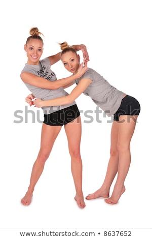 tweeling · sport · meisjes · ander · handen · vrouw - stockfoto © Paha_L