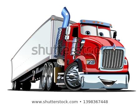 Foto stock: Vector Cartoon Semi Truck