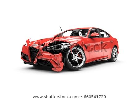 piros · autó · csattanás · baleset · festék · törött - stock fotó © FrameAngel