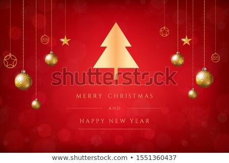 Christmas postcard with gold star on red bokeh. Stock photo © beholdereye