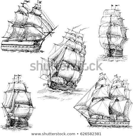 Histórico velero silueta madeira brillante agua Foto stock © prill