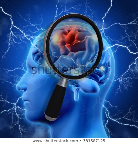 3D medical background with magnifying glass examining brain Stock photo © kjpargeter
