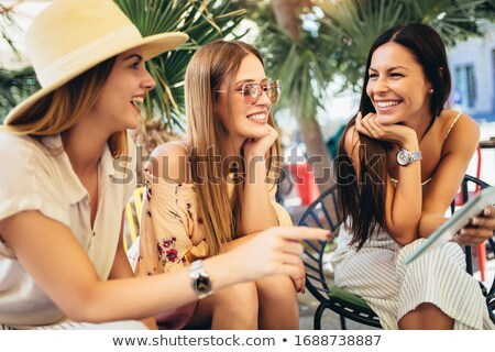 tre · giovani · ragazze · bianco · abiti - foto d'archivio © runzelkorn
