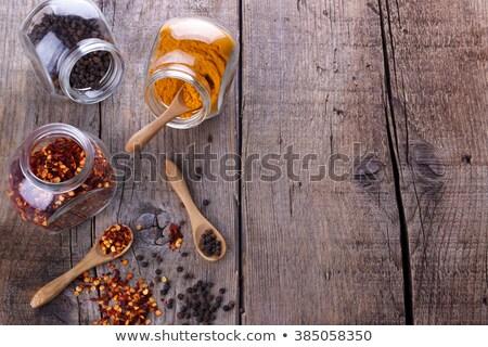 Chili flakes and black peper Stock photo © Lana_M