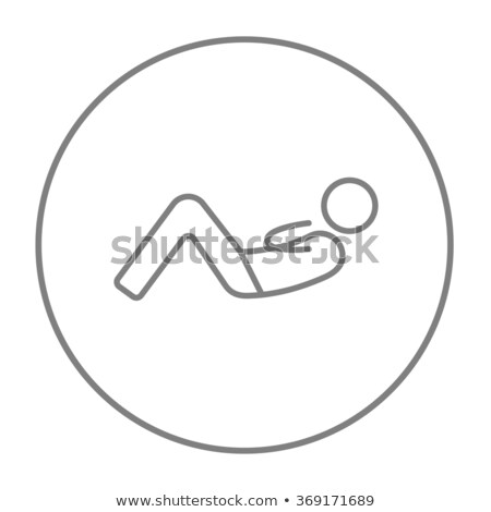 Man doing abdominal crunches line icon. Stock photo © RAStudio