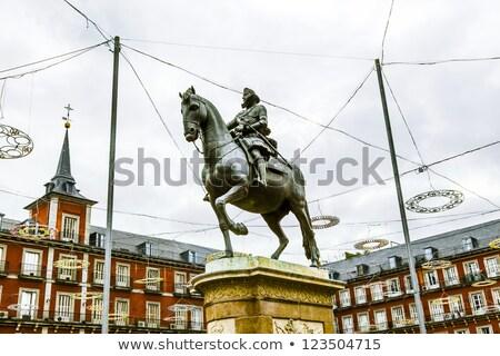 statue of philipp iii at the plaza mayor stock photo © meinzahn