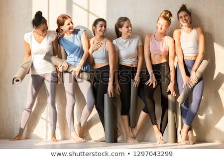 Sportos lány gimnasztikai csinos szőke nő sportruha Stock fotó © bezikus