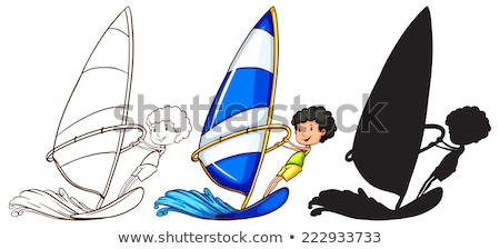 Sketches of a boy playing with the waves in three colours Stock photo © bluering