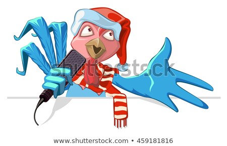 Blue cock symbol 2017. Rooster in santa hat singing into microphone song Stock photo © orensila