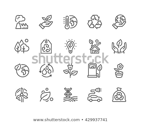 ecology green fill icons set stock photo © conceptcafe
