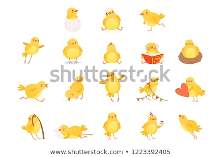 Yellow bird eating little worms Stock photo © bluering