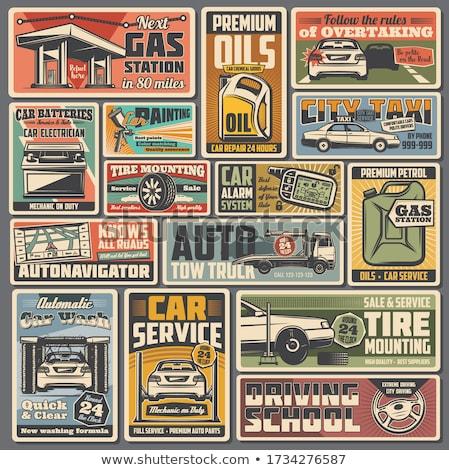 Retro carro serviço cartaz vetor arte Foto stock © vector1st