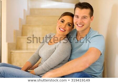 vonzó · pár · lépcsősor · öltöny · belső · női - stock fotó © konradbak