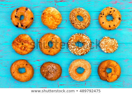 Display of twelve assorted freshly baked bagels Stock photo © ozgur