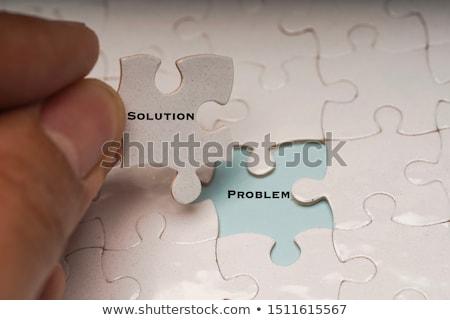 Stok fotoğraf: Bilmece · kelime · kalite · puzzle · parçaları · el · inşaat