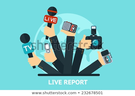 vector live report concept live news hands of journalists with microphones and tape recorders stock photo © photoroyalty