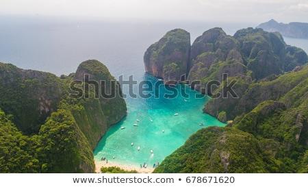 deniz · manzarası · ada · durmak · tek · başına · mavi · gökyüzü · plaj - stok fotoğraf © bank215