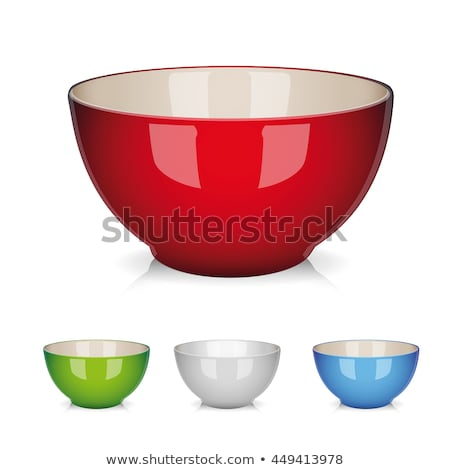 vector set of colorful ceramic bowls foto d'archivio © freesoulproduction
