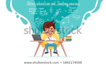 jongen · met · behulp · van · laptop · computer · sofa · surfen · kleur - stockfoto © monkey_business