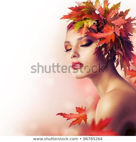 красоту · профессиональных · макияж · брюнетка · красный - Сток-фото © iordani